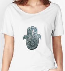Hamsa Hand Black and White Design Women's Relaxed Fit T-Shirt