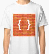 White Curly Bracket Icon on Orange Brick Background Classic T-Shirt