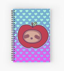 Apple Face Sloth - Ombre Hearts Spiral Notebook