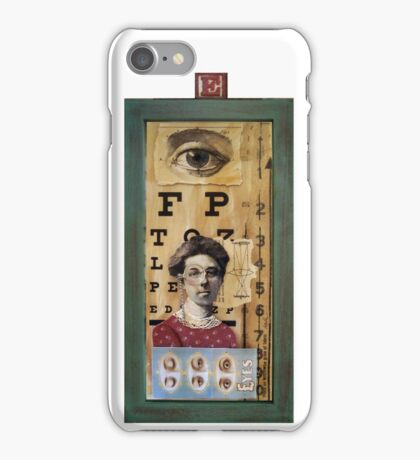"""""""The Eyes Have It"""" - collage / assemblage / shadow box art iPhone Case/Skin"""