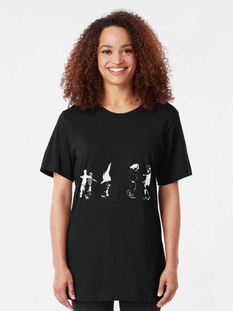 Alternate view of Children Playing On Dark Slim Fit T-Shirt