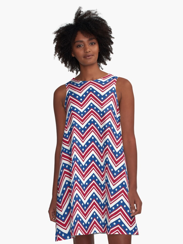 Studio Dalio - Red White and Blue Zigzag Stripes with Stars A-Line Dress