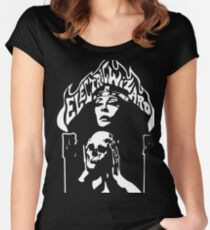 Band Electric Wizard Logo Skull White Women's Fitted Scoop T-Shirt