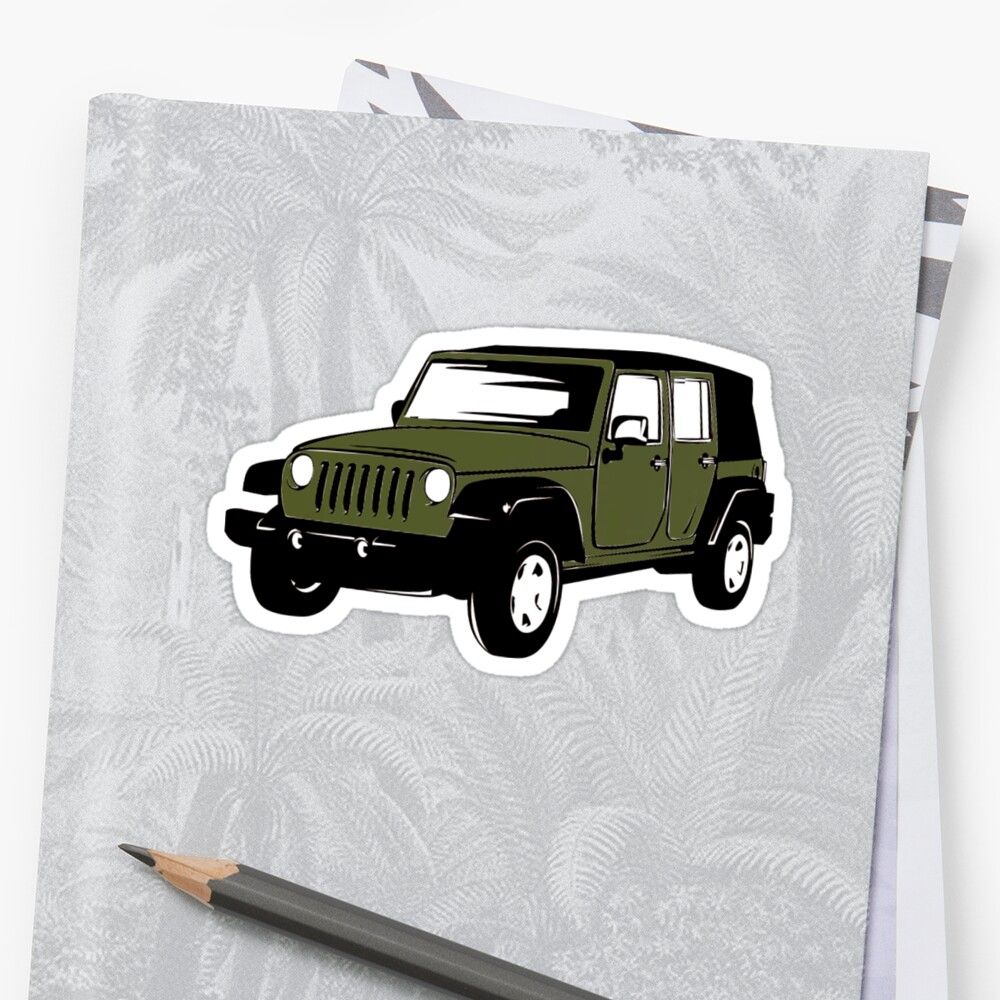 Army Green Jeep Wrangler Sticker Sticker By Claireandrewss Redbubble