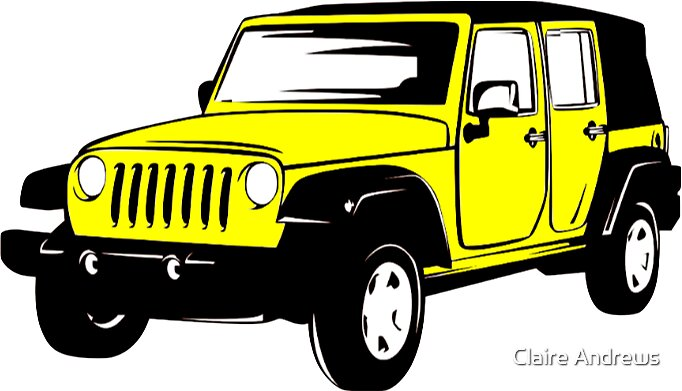 Neon Yellow Jeep Wrangler Sticker by Claire Andrews