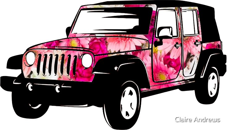 Flower Power Jeep Wrangler Sticker by Claire Andrews