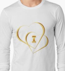 Golden Icons of Two Hearts. I Love. T-Shirt