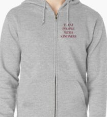 Treat People With Kindness (Red/Grey) Zipped Hoodie