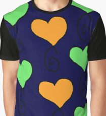 green and orange hearts on very dark blue Graphic T-Shirt