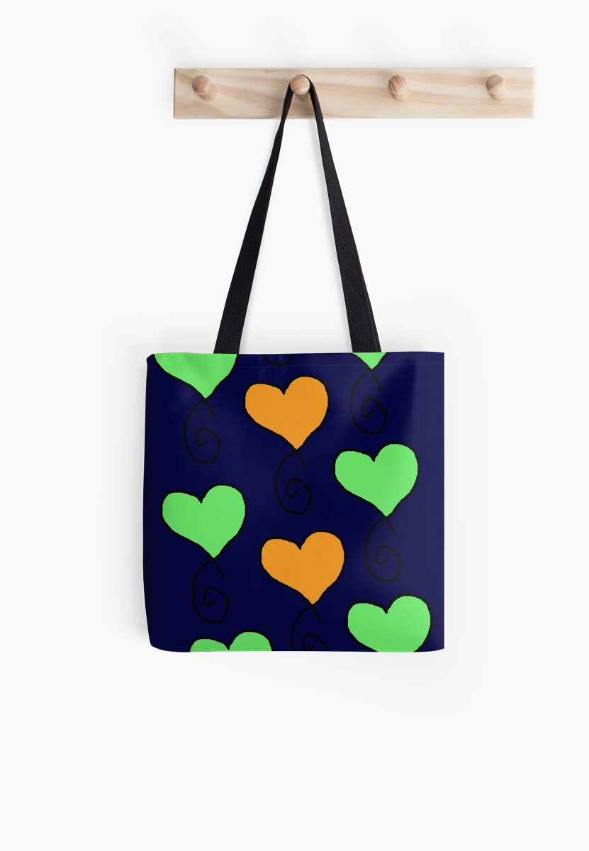 "Green Orange Small Apartment Living Room Decor: ""green And Orange Hearts On Very Dark Blue"" Tote Bags By"
