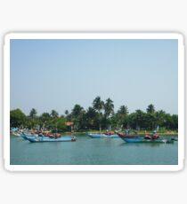 Fishing boats at the Marina near the coast Sticker
