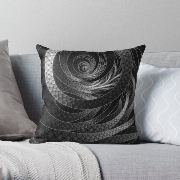Shining Silver Corded Fractal Bangles Throw Pillow