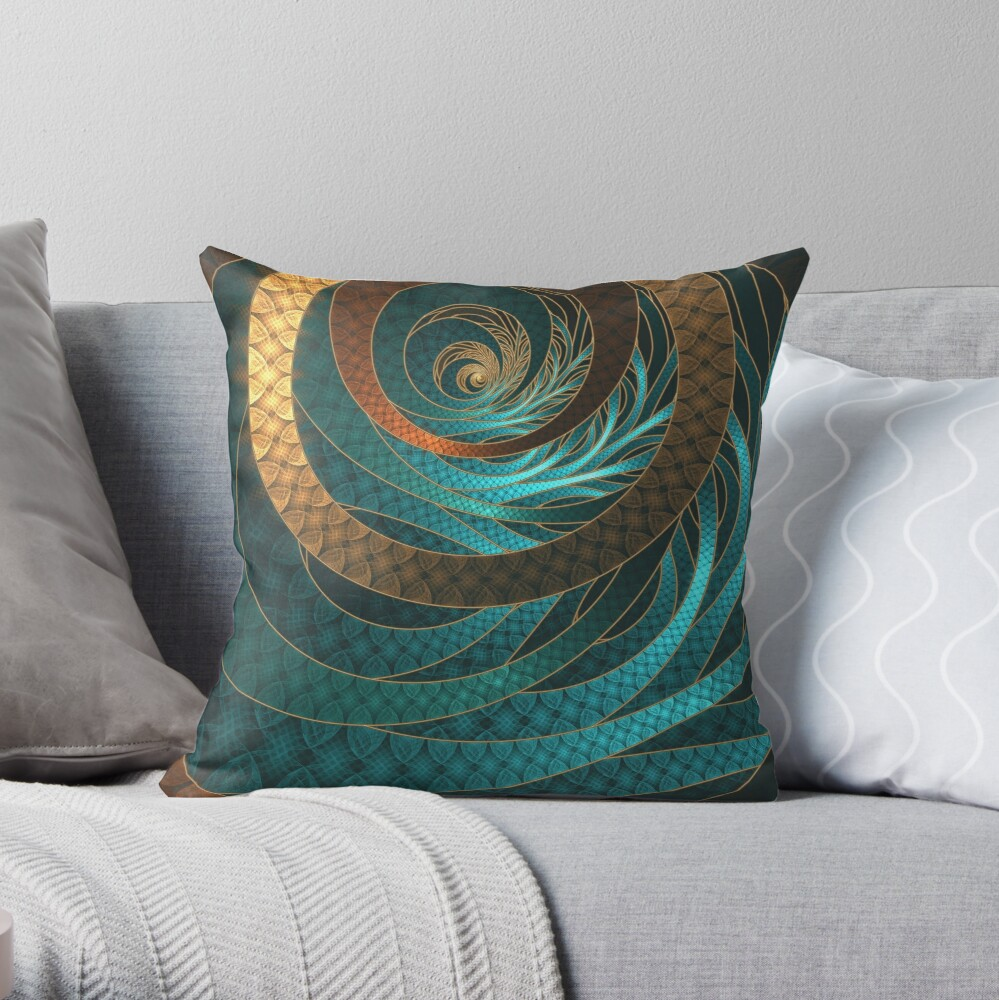 Beautiful Corded Leather Turquoise Fractal Bangles Throw Pillow