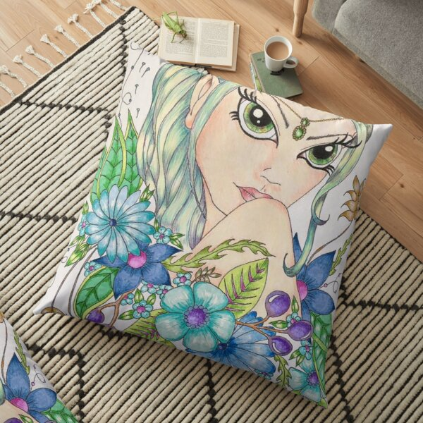 Pixie in Flowers - By Donna Floor Pillow
