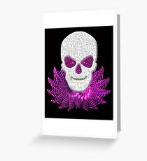 Lacy Floral Faux Pink Glitter Eyes Skull With Blue Decorative Collar  Greeting Card