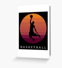 Basketball - 70s Vintage Style Basketball Artwork Greeting Card