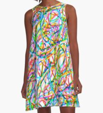 Abstract Colorful Scribble Art A-Line Dress