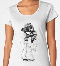 COLD (Black and White) - Sad Japanese Aesthetic Women's Premium T-Shirt