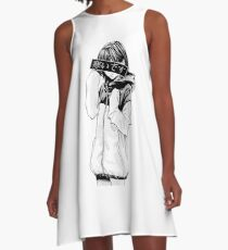 COLD (Black and White) - Sad Japanese Aesthetic A-Line Dress