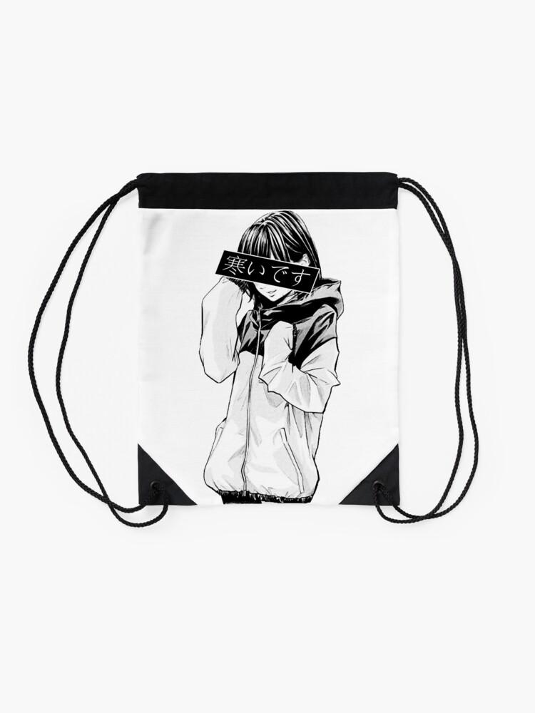Alternate view of COLD (Black and White) - Sad Japanese Aesthetic Drawstring Bag
