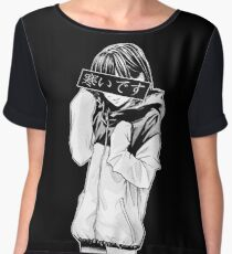 COLD (Black and White) - Sad Japanese Aesthetic Chiffon Top
