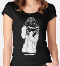 Camiseta entallada de cuello redondo FRÍO (blanco y negro) - Triste japonés estético
