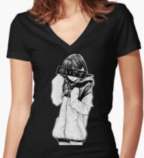 COLD (Black and White) - Sad Japanese Aesthetic Women's Fitted V-Neck T-Shirt