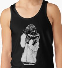 COLD (Black and White) - Sad Japanese Aesthetic Tank Top