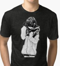 COLD (Black and White) - Sad Japanese Aesthetic Tri-blend T-Shirt