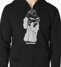 COLD (Black and White) - Sad Japanese Aesthetic Zipped Hoodie