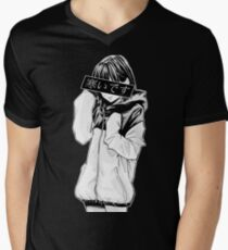 COLD (Black and White) - Sad Japanese Aesthetic Men's V-Neck T-Shirt