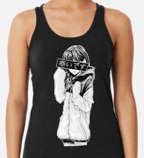 Camiseta con espalda nadadora FRÍO (blanco y negro) - Triste japonés estético