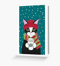 Christmas cats drinking coffee Greeting Card
