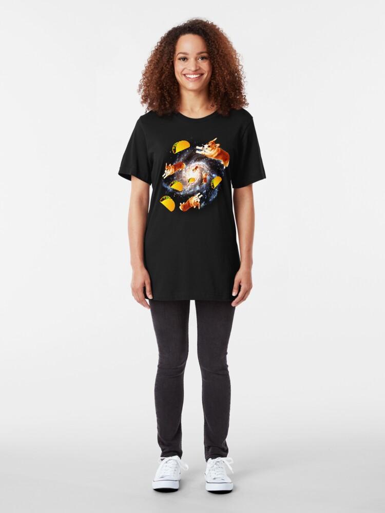 Alternate view of Corgi Taco Galaxy - Funny Corgi Slim Fit T-Shirt