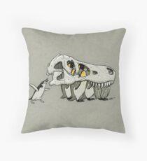 Tyrannosaurus Skull Penguins Throw Pillow