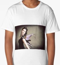 Dark Fairy in Front Distressed Textured Wall Long T-Shirt