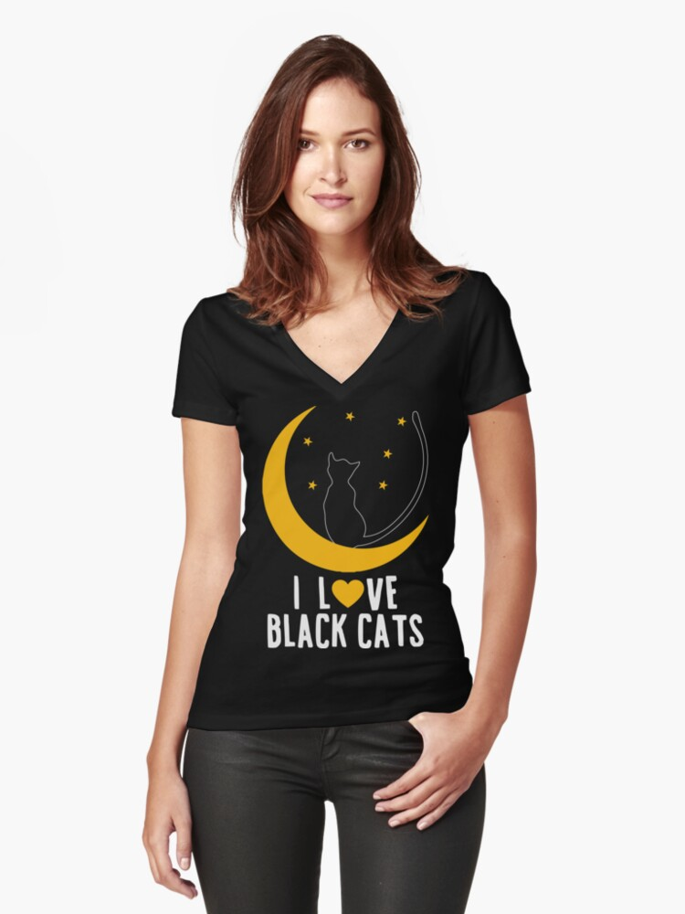 Cute I Love Black Cats Women's Fitted V-Neck T-Shirt Front
