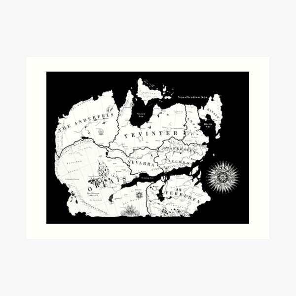 Thedas Map Art Print By Noelle304 Redbubble