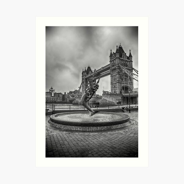 Girl with a Dolphin at Tower Bridge 2 Art Print