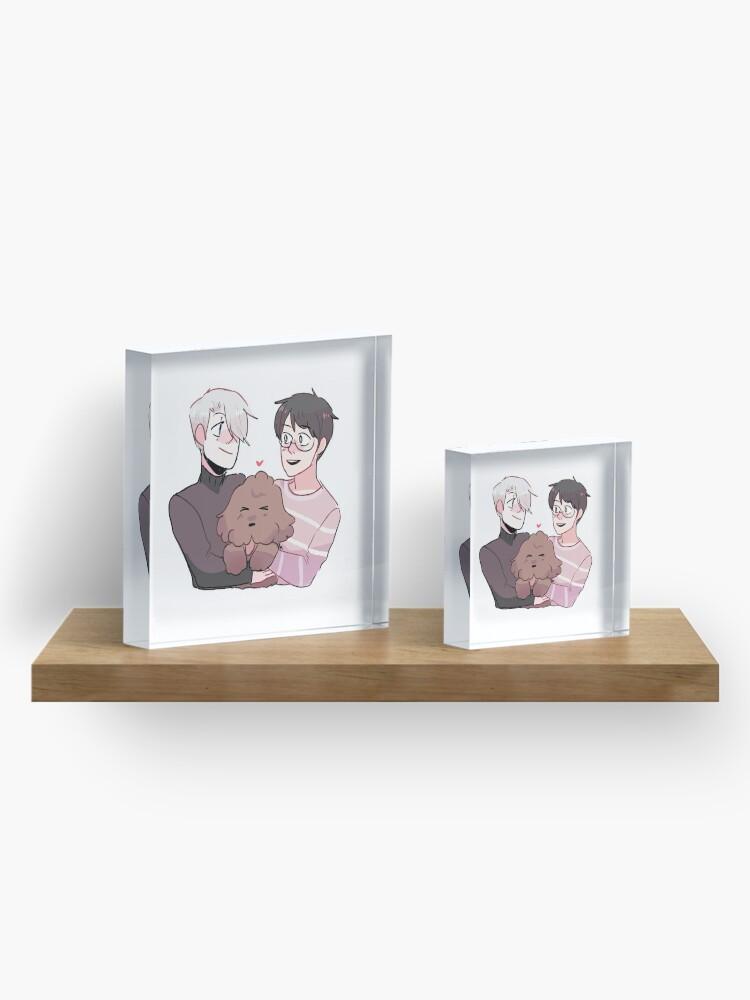 Alternate view of YOI: VICTUURI + MAKKACHIN HUGS Acrylic Block