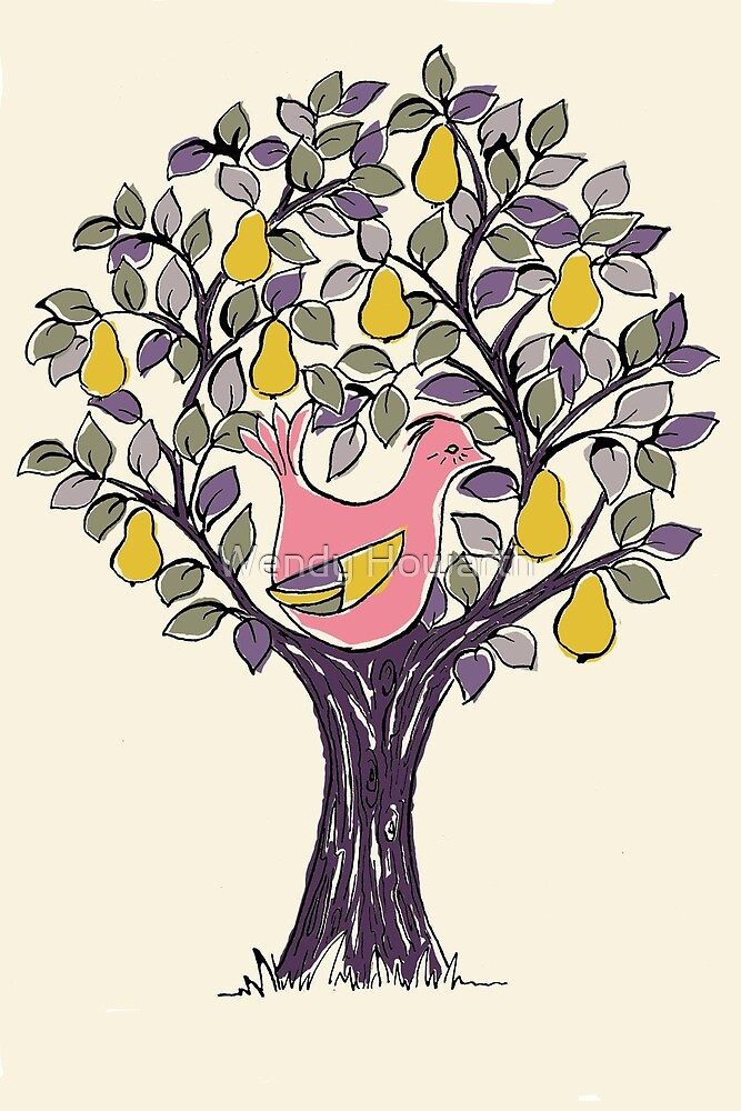 And a Partridge in a Pear Tree - Pink by Wendy Howarth