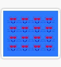 Blue folk Tulips with red Sticker