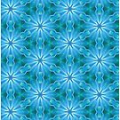 Blue Abstract Star Shapes Pattern by tanyadraws