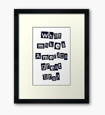 What makes America Great Bro? Framed Print