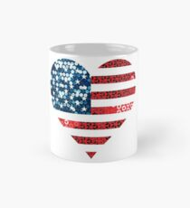 Taza clásica Estados Unidos bandera corazón