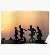Children on one wheel bicycle Poster