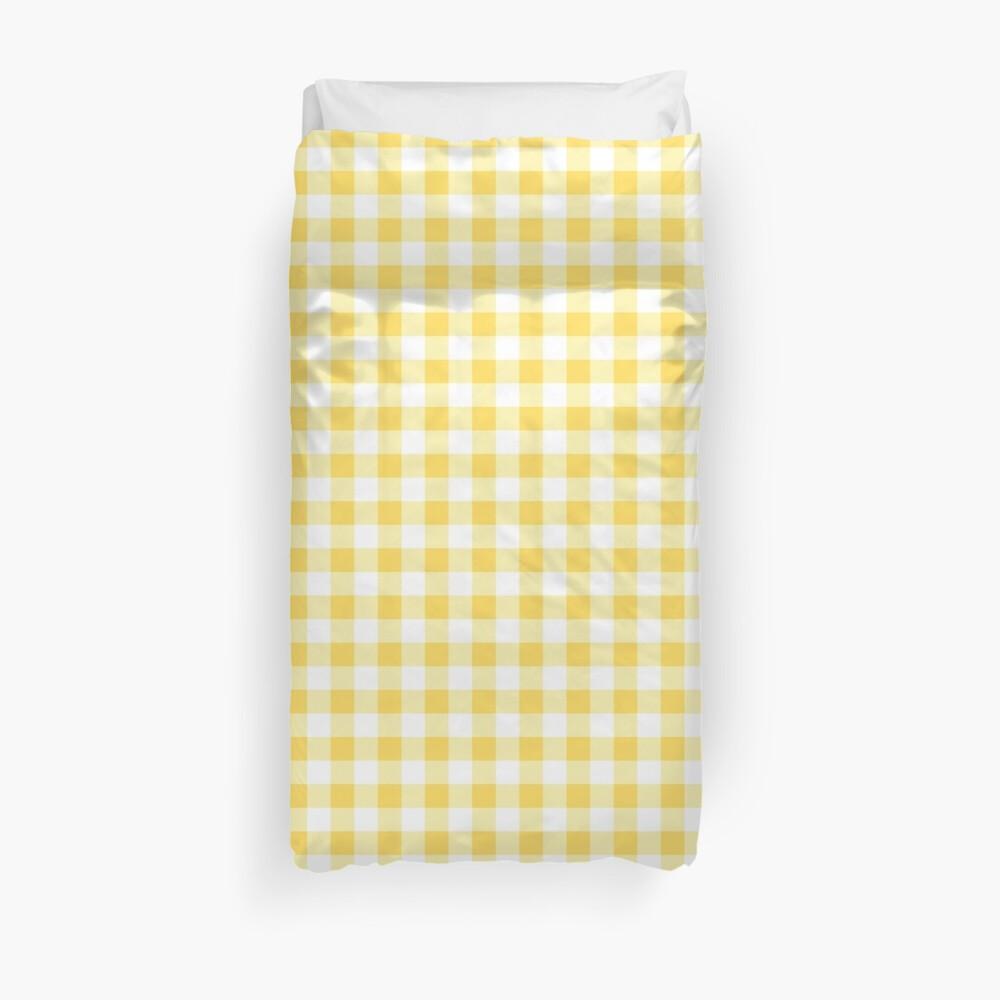 Buffalo Check Senf gelb und weiß karierten breiten Streifen Bettbezug