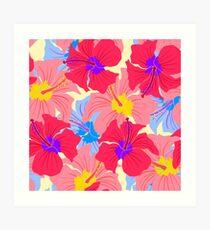pattern with hibiscus  Art Print