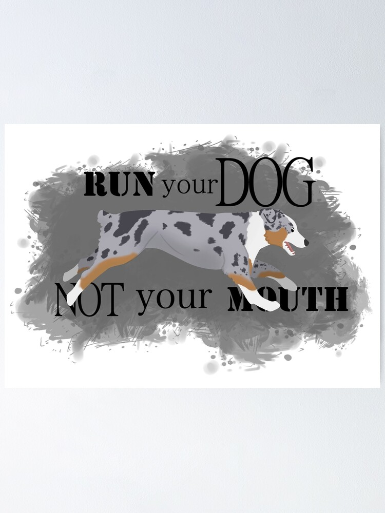Alternate view of Run Your Dog Not Your Mouth Australian Shepherd blue merle Poster