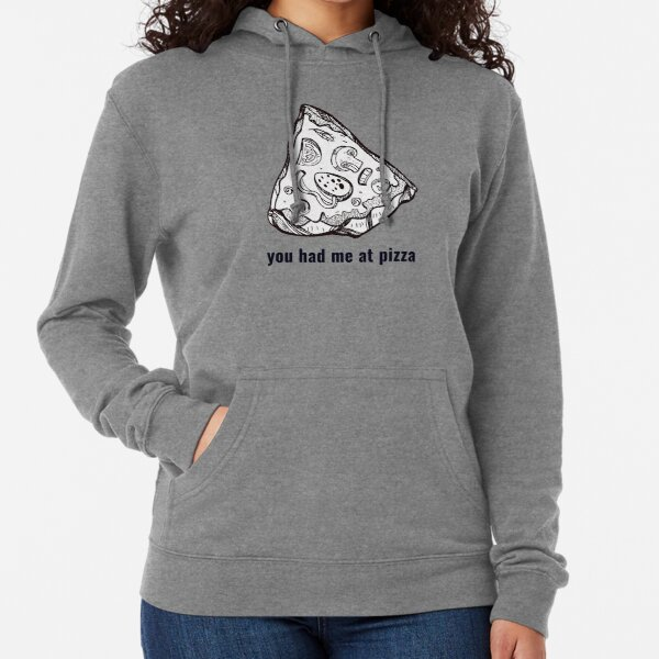 """You Had Me at Pizza"" Pizza Slice // Hand Drawn Food Art Lightweight Hoodie"
